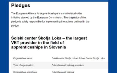 Evropska komisija je objavila zavezo ŠC Škofja Loka v okviru članstva EAfA